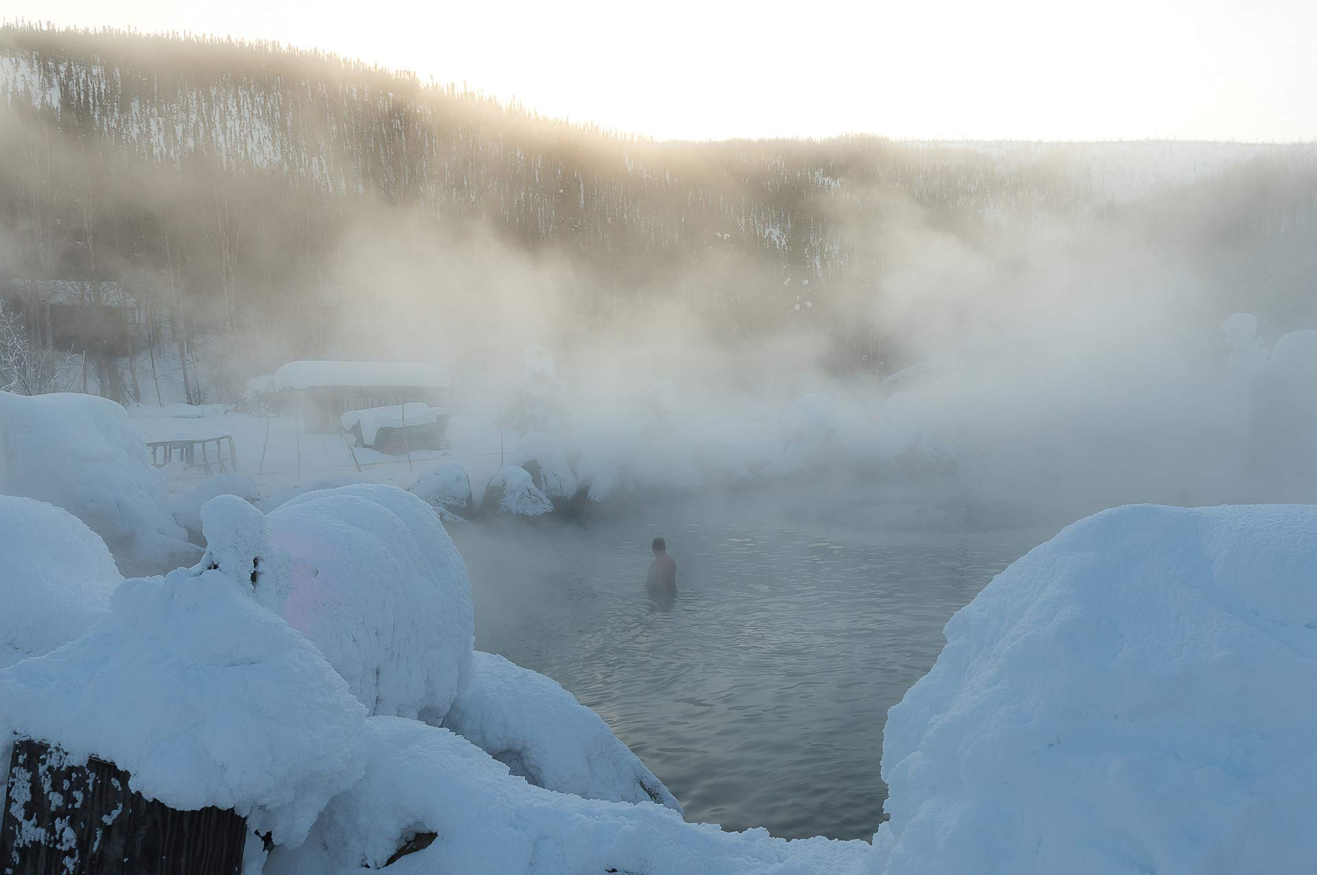 Yacht Charter Destination Alaska Highlight Chena Hot Spring on the top of mountain