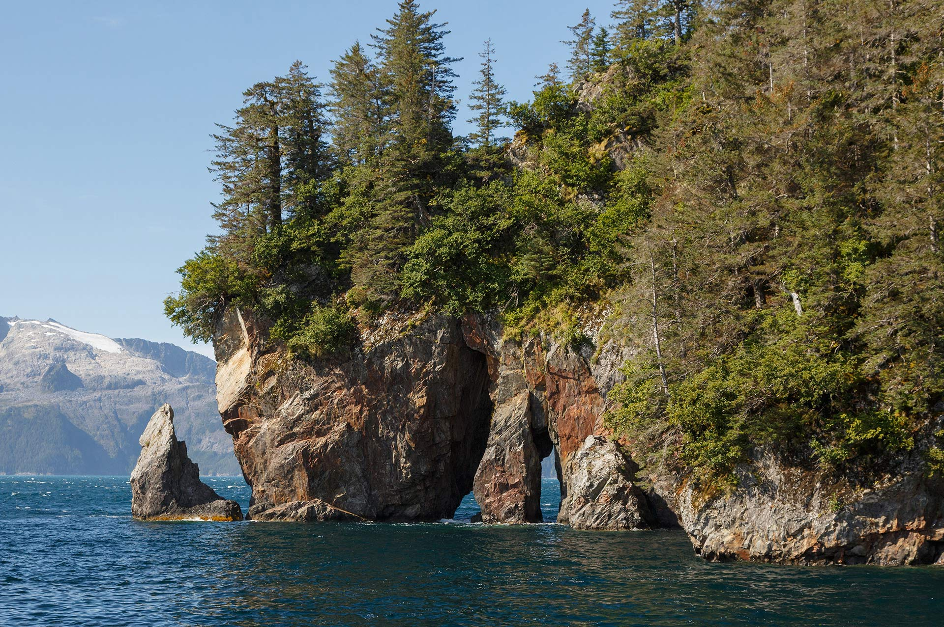 Yacht Charter Alaska Three Hole Point Rock Formation Aialik Bay in Kenai Fjords National Park