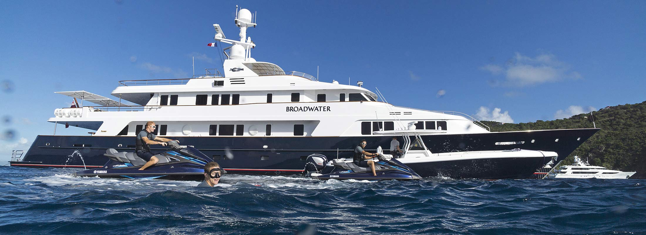 Broadwater Motor Yacht for Charter Mediterranean Caribbean Sea slider 2